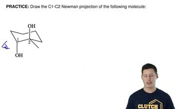 Draw the C1-C2 Newman projection of the following molecule: ...