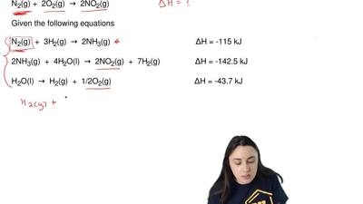 Using Hess's Law, determine the ΔH of the following reaction:  N2(g) +  2O2(g)...