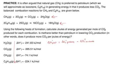 It is often argued that natural gas (CH4) is preferred to petroleum (which we ...