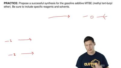 Propose a successful synthesis for the gasoline additive MTBE (methyl tert-but...