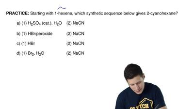 Starting with 1-hexene, which synthetic sequence below gives 2-cyanohexane?  a...