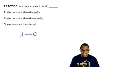 In a polar covalent bond,  ______.  A. electrons are shared equally  B. electr...
