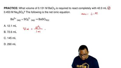 What volume of 0.131 M BaCl2 is required to react completely with 42.0 mL of 0...