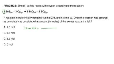 Zinc (II) sulfide reacts with oxygen according to the reaction:  2 ZnS(s) + 3 ...