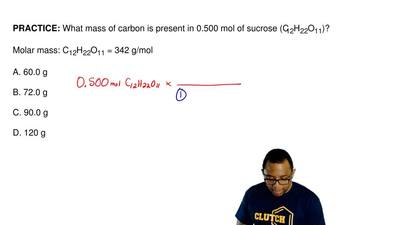What mass of carbon is present in 0.500 mol of sucrose (C12H22O11)?  Molar mas...
