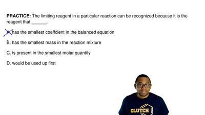 The limiting reagent in a particular reaction can be recognized because it is ...