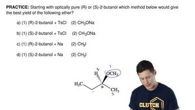 Starting with optically pure (R) or (S)-2-butanol which method below would giv...