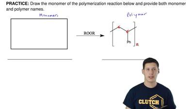 Draw the monomer of the polymerization reaction below and provide both monomer...