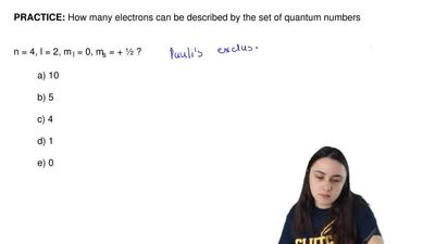 How many electrons can be described by the set of quantum numbers             ...