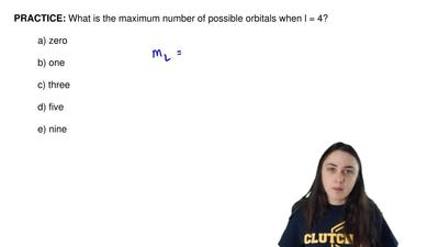 What is the maximum number of possible orbitals when l = 4?  a) zero  b) one  ...