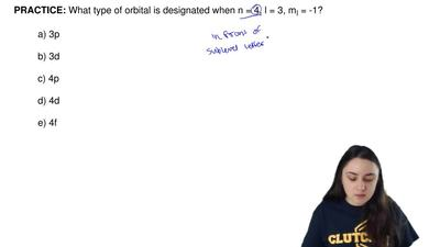 What type of orbital is designated when n = 4, l = 3, m  l = -1?  a) 3p  b) 3d...