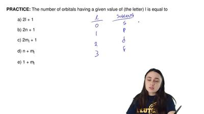 The number of orbitals having a given value of (the letter) l is equal to  a) ...