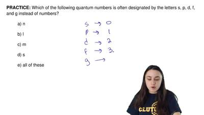 Which of the following quantum numbers is often designated by the letters s, p...