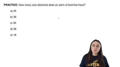 How many core electrons does an atom of bromine have?  a) 35  b) 36  c) 30  d)...