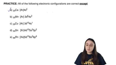 All of the following electronic configurations are correct  except  a) 20Ca  [...
