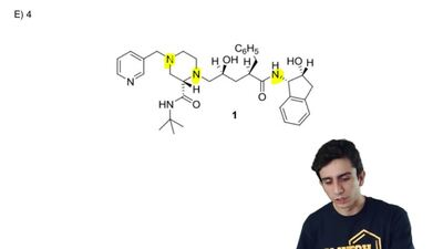 In the molecule shown below, how many secondary (2°) amines are present?  A) n...