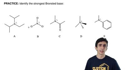 Identify the strongest Bronsted base:   ...
