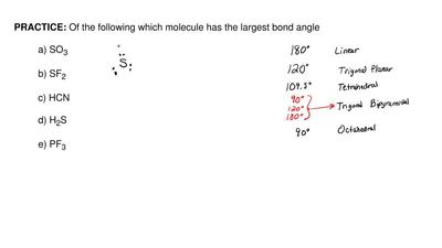 Of the following molecules given below, which has the largest bond angle?  a) ...