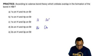 According to valence bond theory, which orbitals overlap in the formation of t...