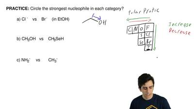 Circle the strongest nucleophile in each category.  a) Cl-  vs  Br-  (...