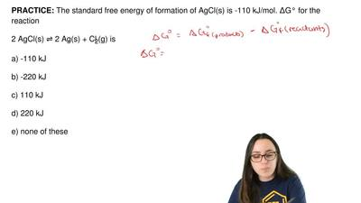 The standard free energy of formation of AgCl(s) is -110 kJ/mol. ΔG° for the r...