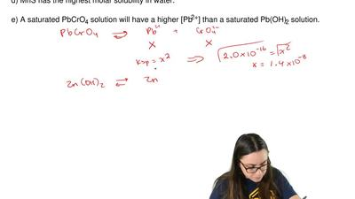 Given the following Ksp values, which statement about solubility in water isc...