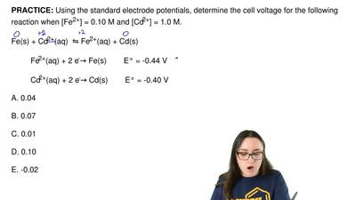Using the standard electrode potentials, determine the cell voltage for the fo...