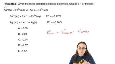 Given the listed standard electrode potentials, what is E° for the cell?  Ag+(...