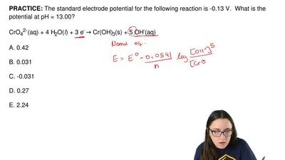 The standard electrode potential for the following reaction is -0.13 V.  What ...