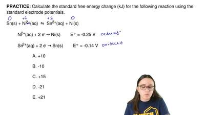 Calculate the standard free energy change (kJ) for the following reaction usin...