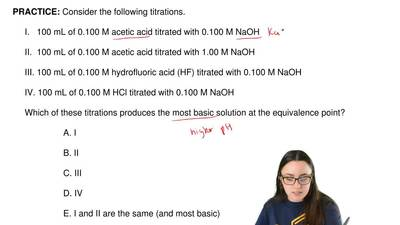 Consider the following titrations.       I.   100 mL of 0.100 M acetic acid ti...