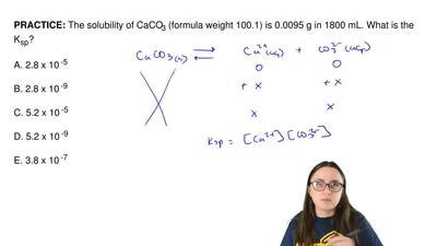 The solubility of CaCO3 (formula weight 100.1) is 0.0095 g in 1800 mL. What is...