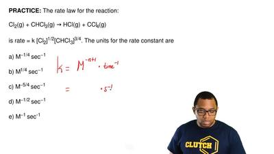 The rate law for the reaction:  Cl2(g) + CHCl3(g) → HCl(g) + CCl4(g)  is rate ...