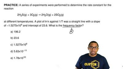 A series of experiments were performed to determine the rate constant for the ...