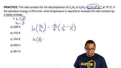 The rate constant for the decomposition of C 4H4 to C2H2 is 7.2x104 s−1 at 75°...