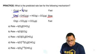 What is the predicted rate law for the following mechanism?  Cl2(g) ⇌ 2Cl(g)  ...