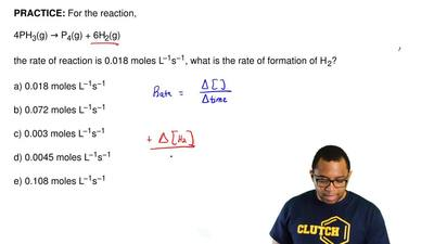 For the reaction,  4PH3(g) → P4(g) + 6H2(g)  the rate of reaction is 0.018 mol...