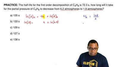 The half-life for the first order decomposition of C 4H8 is 72.3 s, how long w...