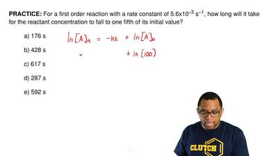 For a first order reaction with a rate constant of 5.6x10 −3 s−1, how long wil...