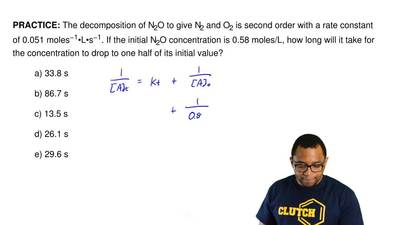 The decomposition of N2O to give N2 and O2 is second order with a rate constan...