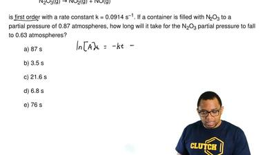The reaction   N2O3(g) → NO2(g) + NO(g)  is first order with a rate constant k...
