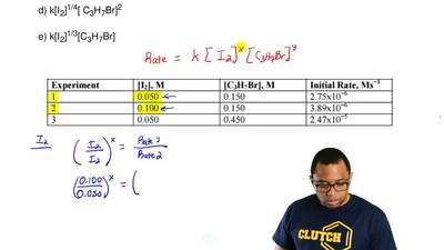 Determine the rate law for the reaction between I 2 and C3H7Br from the inform...