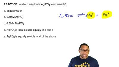 In which solution is Ag3PO4 least soluble?  a. In pure water  b. 0.50 M AgNO3 ...