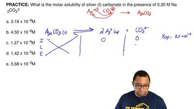 What is the molar solubility of silver (I) carbonate in the presence of 0.20 M...