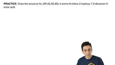 Draw the structure for(2R,4S,5E,8S)-4-amino-8-chloro-2-hydroxy-7,9-dioxonon-5...