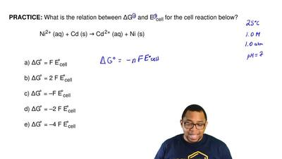 What is the relation between ΔG° and E°cell for the cell reaction below?  Ni2+...