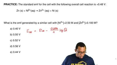 The standard emf for the cell with the following overall cell reaction is +0.4...