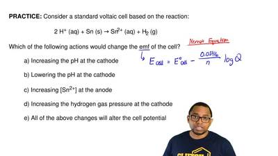Consider a standard voltaic cell based on the reaction:  2 H+ (aq) + Sn (s) → ...