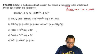 What is the balanced half‐reaction that occurs at the anode in the unbalanced ...
