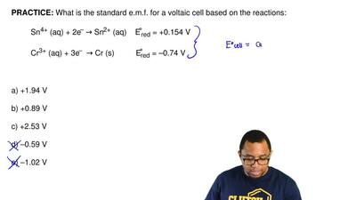 What is the standard e.m.f. for a voltaic cell based on the reactions:  Sn4+ (...